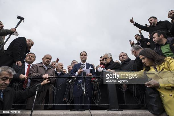 Fatih Erbakan son of Former Prime Minister of Turkey Necmettin Erbakan speaks to press after performing friday prayer at the Haci Bayram Mosque in...
