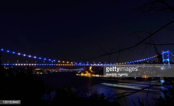 Fatih Sultan Mehmet Bridge is illuminated with the colors of Kosovo's flag on the12th anniversary of the independence of Kosovo in Istanbul Turkey on...