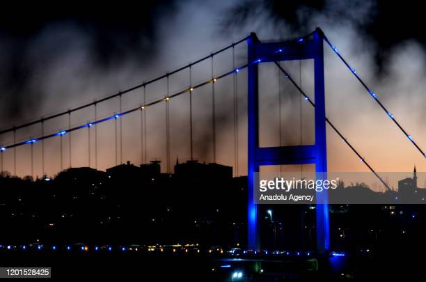 Fatih Sultan Mehmet Bridge is illuminated with the colors of Kosovo's flag on the12th anniversary of the independence of Kosovo in Istanbul, Turkey...