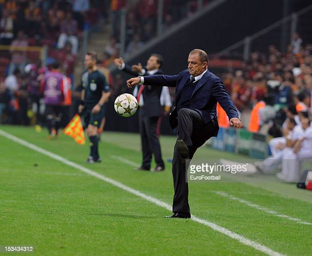 Fatih Terim coach of Galatasaray AS during the UEFA Champions League group stage match between Galatasaray AS and SC Braga on October 2 2012 at the...