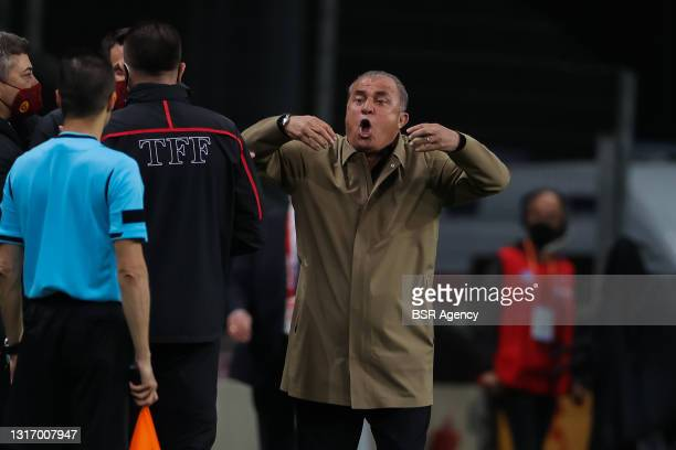 Fatih Terim coach of Galatasaray during the Super Lig match between Galatasaray and Besiktas at Turk Telekom Stadyumu on May 8, 2021 in Istanbul,...