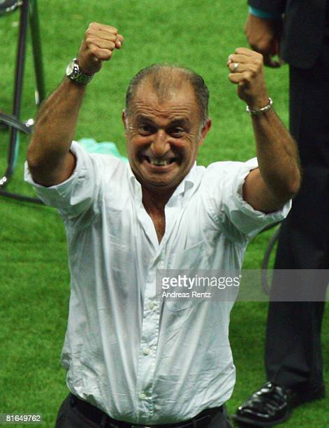Fatih Terim coach of Turkey celebrates victory after the UEFA EURO 2008 Quarter Final match between Croatia and Turkey at Ernst Happel Stadion on...