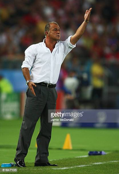 Fatih Terim coach of Turkey gives instructions during the UEFA EURO 2008 Quarter Final match between Croatia and Turkey at Ernst Happel Stadion on...