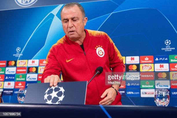 Fatih Terim head coach arrives to the Press Conference prior to the Group D match of the UEFA Champions League between FC Schalke 04 and Galatasaray...