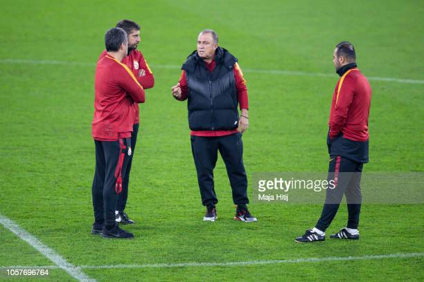 Fatih Terim head coach of Galatasaray during the Training prior to the Group D match of the UEFA Champions League between FC Schalke 04 and...
