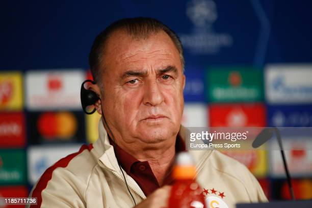 Fatih Terim, head coach of Galatasaray from Turkey, attends during the Galatasaray Press Conference prior to the UEFA Champions League, Group A,...