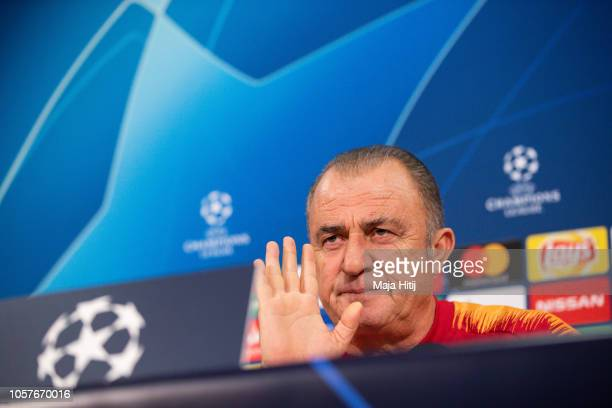 Fatih Terim head coach of Galatasaray geastures during the Press Conference prior to the Group D match of the UEFA Champions League between FC...