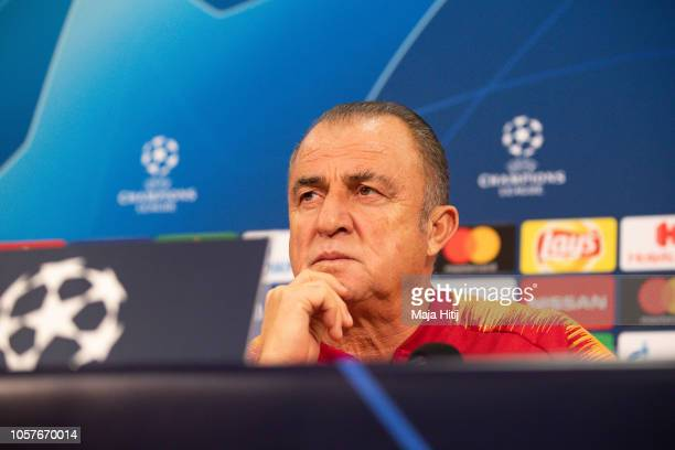 Fatih Terim head coach of Galatasaray looks on during the Press Conference prior to the Group D match of the UEFA Champions League between FC Schalke...