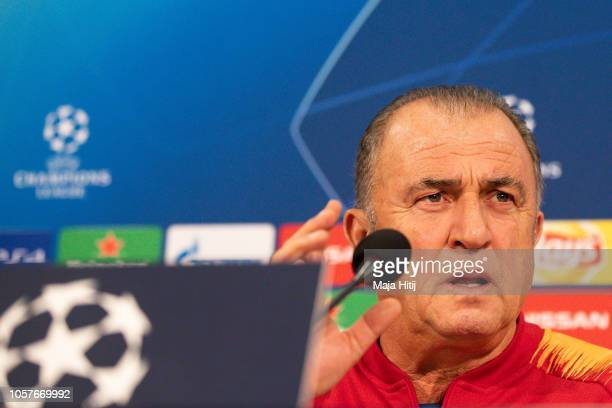 Fatih Terim head coach of Galatasaray speaks during the Press Conference prior to the Group D match of the UEFA Champions League between FC Schalke...