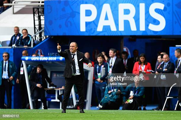 Fatih Terim head coach of Turkey gestures during the UEFA EURO 2016 Group D match between Turkey and Croatia at Parc des Princes on June 12 2016 in...