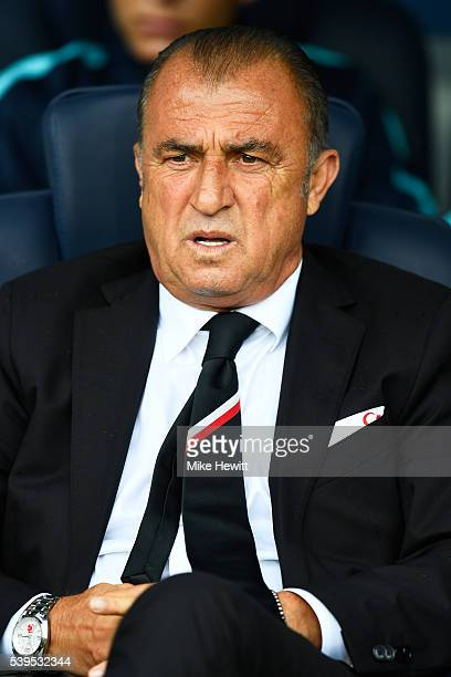Fatih Terim head coach of Turkey looks on prior to the UEFA EURO 2016 Group D match between Turkey and Croatia at Parc des Princes on June 12 2016 in...