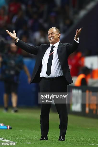 Fatih Terim head coach of Turkey reacts from the touch line during the UEFA EURO 2016 Group D match between Spain and Turkey at Allianz Riviera...