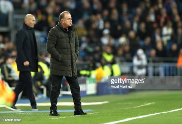 Fatih Terim, Manager of Galatasaray gives instructions during the UEFA Champions League group A match between Real Madrid and Galatasaray at Bernabeu...