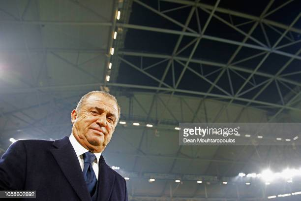 Fatih Terim Manager of Galatasaray looks on during the Group D match of the UEFA Champions League between FC Schalke 04 and Galatasaray at...