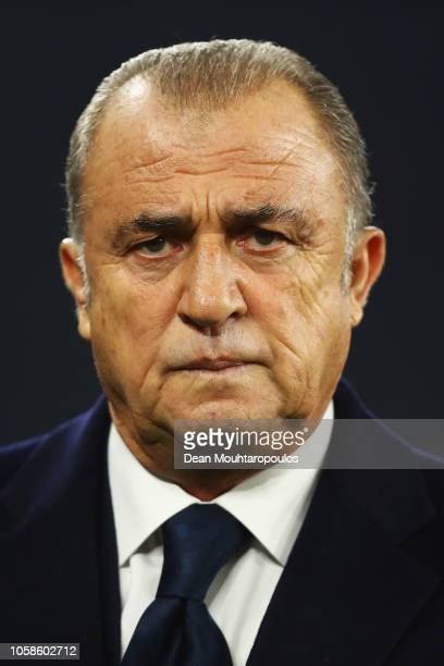 Fatih Terim, Manager of Galatasaray looks on during the Group D match of the UEFA Champions League between FC Schalke 04 and Galatasaray at...