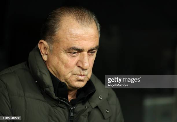 Fatih Terim Manager of Galatasaray looks on prior to the UEFA Champions League group A match between Real Madrid and Galatasaray at Bernabeu on...