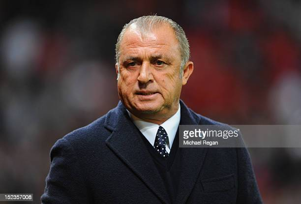 Fatih Terim manager of Galatasaray looks on prior to the UEFA Champions League Group H match between Manchester United and Galatasaray at Old...