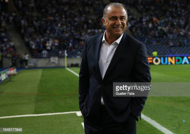 Fatih Terim manager of Galatasaray smiles before the start of the UEFA Champions League Group D match between FC Porto and Galatasaray at Estadio do...