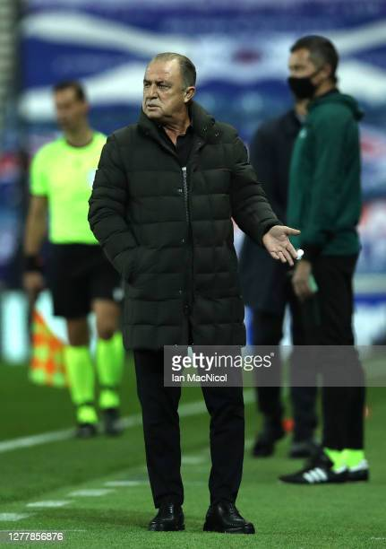 Fatih Terim of Galatasaray looks on during the UEFA Europa League play-off match between Rangers and Galatasaray at Ibrox Stadium on October 01, 2020...