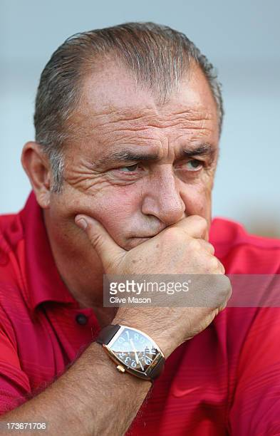 Fatih Terim of Galatasaray looks on from the bench during the pre season friendly match between Notts County and Galatasaray at Meadow Lane on July...