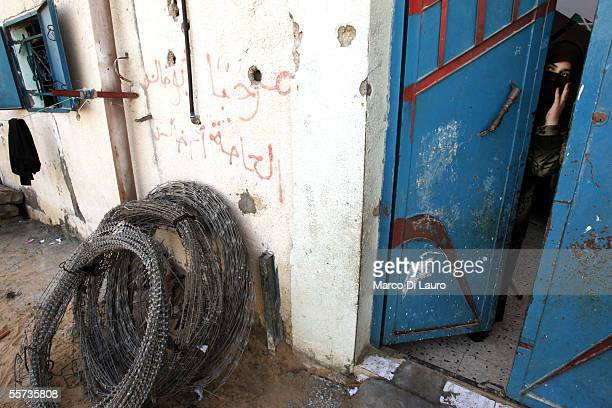 Fatima Abu Sahlol 24yearsold looks outside the front door of her house on September 21 2005 in the Khan Younis refugee camp which is located on the...