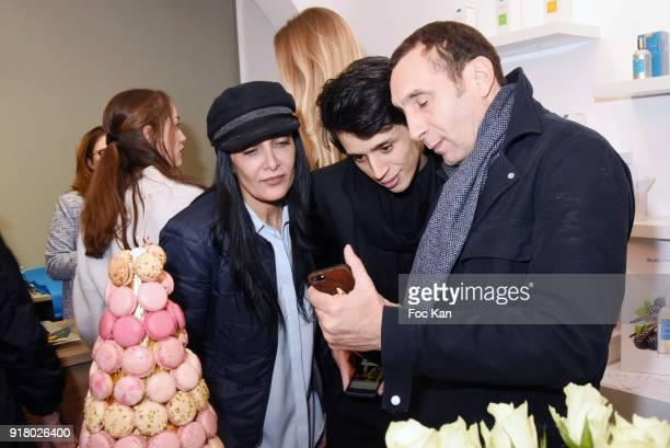 Fatima Adoum PR Tony Boccara and Zinedine Soualem attend the Comptoir Sud Pacifique Rive Gauche Flagrance Shop Opening on February 13 2018 in Paris...