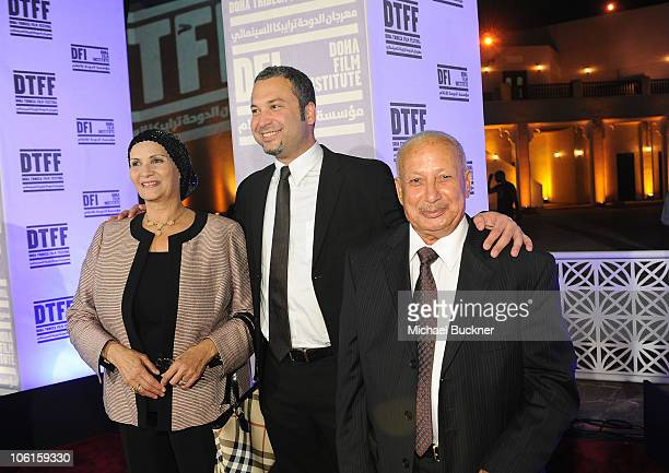 """Fatima Ahmed, director/comedien Ahmed Ahmed, and Abou Bakr Ahmed arrive at the """"Just Like Us"""" Premiere during the 2010 Doha Tribeca Film Festival..."""