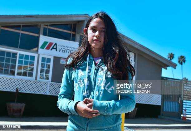 Fatima Avelia who filmed the arrest of her undocumented father Romulo AvilezGonzalez last week poses on campus at school on March 6 2017 in Los...