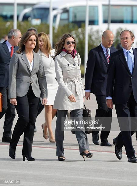 Fatima Banez Princess Letizia of Spain and Pio Garcia Escudero depart to Panama and Ecuador at Barajas Airport on October 2 2012 in Madrid Spain