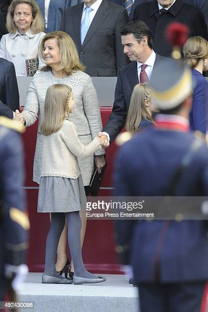 Fatima Banez Princess Sofia and Jose Manuel Soria attend the National Day Military Parade 2015 on October 12 2015 in Madrid Spain