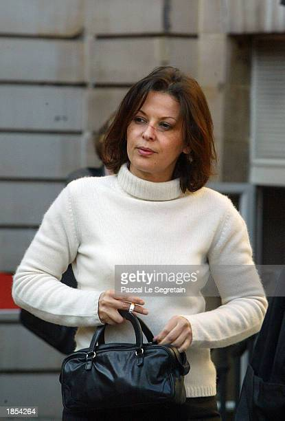 Fatima Belaid the wife of former Elf CEO Loik Le FlochPrigent arrives at the Palais de Justice to attend the Elf corruption case trial March 17 2003...