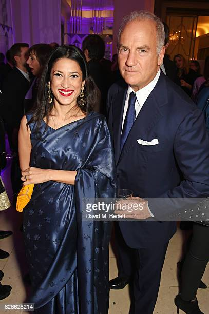 Fatima Bhutto and Charles Finch attend The London Evening Standard British Film Awards at Claridge's Hotel on December 8 2016 in London England