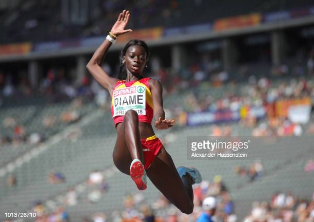 Fatima Diame of Spain competes in the Women's Long Jump qualification during day three of the 24th European Athletics Championships at Olympiastadion...
