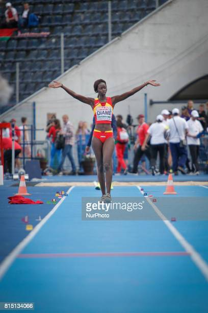 Fatima Diame of Spain is seen competing in the womens triple jump on 14 July 2017 in Bydgoszcz Poland during the European U23 IAAF Championships