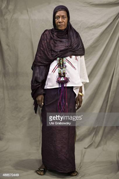 Fatima Gochi 40 years old from Agadez in Niger poses during SAFEM Salon international de l'artisanat pour la femme trade fair on December 06 2013 in...
