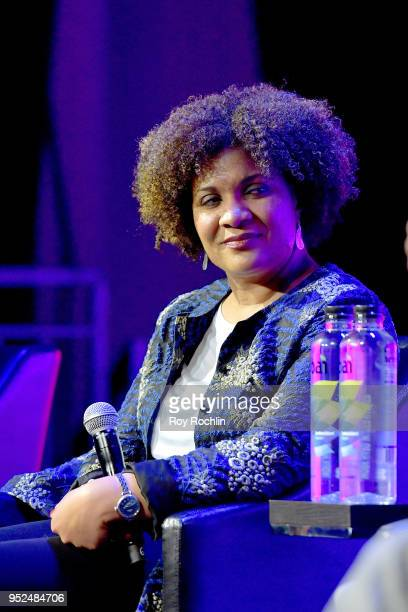 Fatima Goss Graves speaks onstage at Time's Up during the 2018 Tribeca Film Festival at Spring Studios on April 28 2018 in New York City