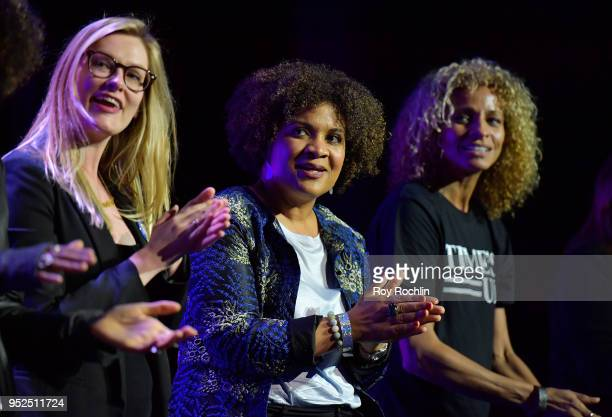 Fatima Goss Graves speaks onstage at 'Time's Up' during the 2018 Tribeca Film Festival at Spring Studios on April 28 2018 in New York City