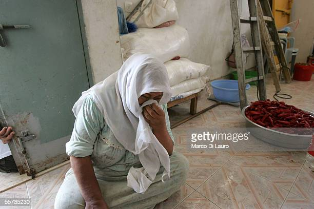 Fatima Hnediq 65yearsold cries as she speaks about her son Muhamad 15yearsold at her house on September 21 2005 in the Khan Younis refugee camp on...