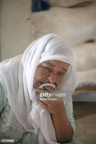 Fatima Hnediq 65yearsold cries as she speaks about her son Muhamad 15yearsold at her house on September 21 2005 in the Khan Younis refugee camp which...