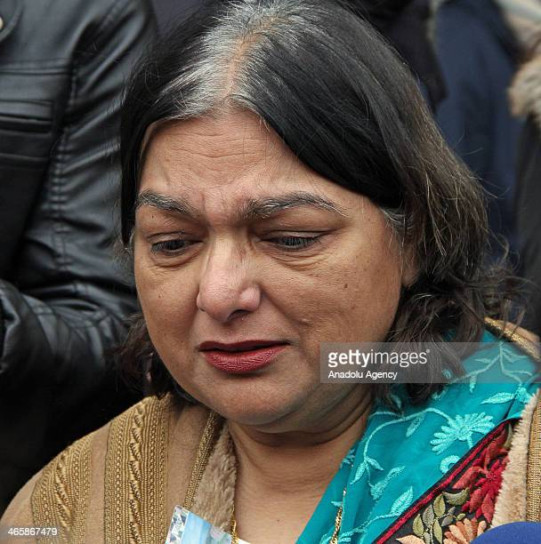 Fatima Khan mother of Dr Abbas Khan 32 who died while being held in custody in Syria speaks to journalists outside the UN headquarters where the...