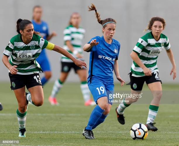 Fatima Pinto of Sporting CP fights for the ball with Nora Palkovics of MTK Hungaria FC in front of Carlyn Baldwin of Sporting CP during the UEFA...