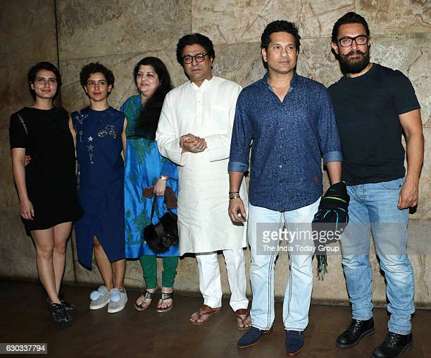 Fatima Sana Shaikh Sanya Malhotra Maharashtra Navnirman Sena president Raj Thackeray with his wife Sharmila Thackeray former cricket player Sachin...