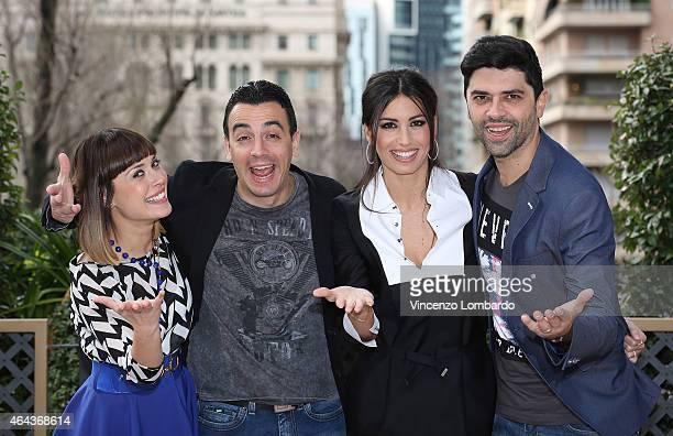 Fatima Trotta, Luigi Esposito, Elisabetta Gregoracci and Rosario Morra alias Gigi e Ross attend the 'Made In Sud' Photocall in Milan on February 25,...