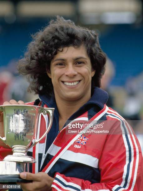 Fatima Whitbread of Great Britain after winning the women's javelin competition during the WAAA Championships at the Crystal Palace in London circa...