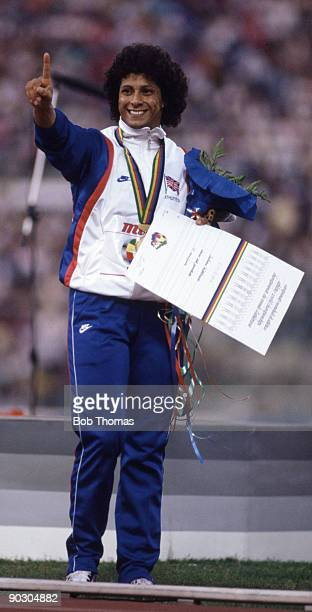 Fatima Whitbread of Great Britain celebrates after winning the gold medal in the women's javelin event at the 2nd World Athletics Championships held...