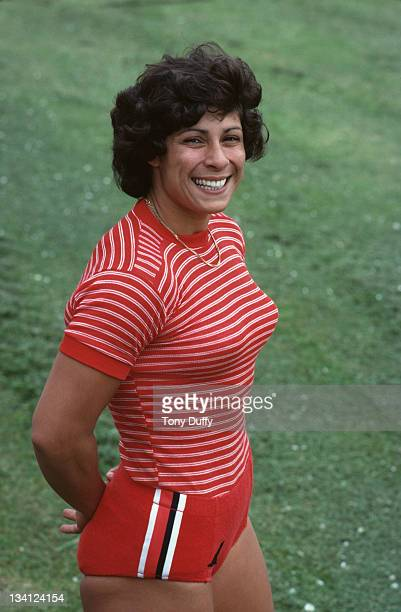 Fatima Whitbread of Great Britain poses for a picture during training on 1st June 1981 at the Crystal Palace in London Great Britain