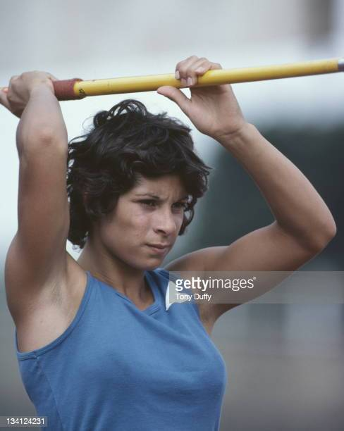 Fatima Whitbread of Great Britain prepares to throw the javelin during training on 1st July 1977 at the Crystal Palace in London Great Britain