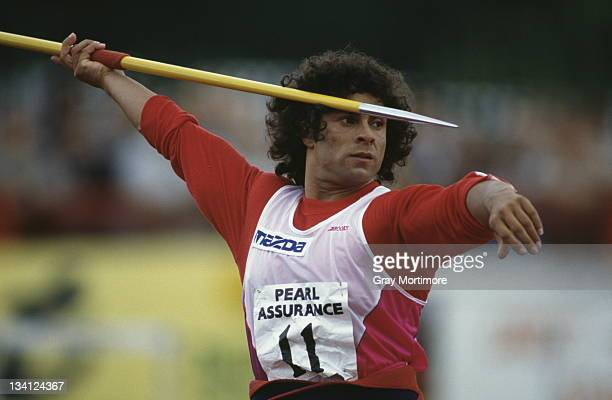 Fatima Whitbread of Great Britain prepares to throw the javelin during the Pearl Assurance UK National Athletics Championships on 16th July 1990 in...