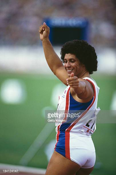 Fatima Whitbread of Great Britain reacts to her throw during the Women's javelin event at the 2nd IAAF World Athletics Championships on 6th September...