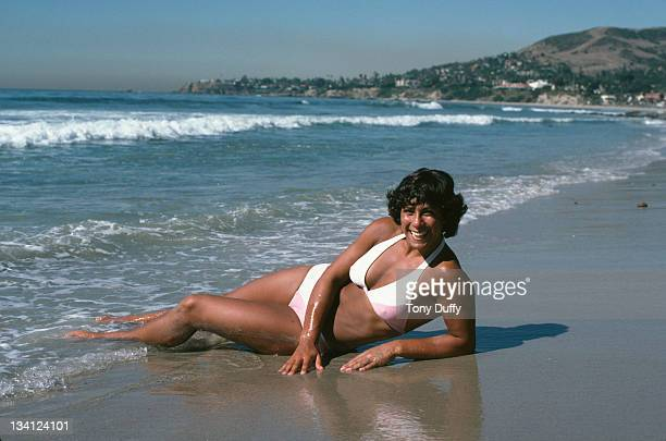 Fatima Whitbread of Great Britain relaxes in the sea after training on 1st November 1979 in Orlando Florida United States Duffy/Getty Images